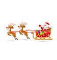 santa on sleigh with deer vector image vector image
