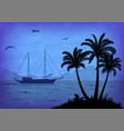 sea landscape with palm and ship vector image vector image
