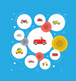 set of auto icons flat style symbols with taxi vector image