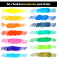 set of hand drawn watercolor pencil strokes vector image
