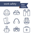 Set of line icons for safety work vector image