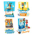 sewing and laundry cooking cleaning service vector image vector image