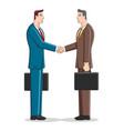simple cartoon businessmen shaking hand vector image vector image