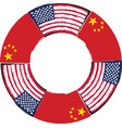 usa and china flags or banner vector image