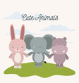 white background with color scene rabbit elephant vector image vector image