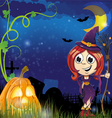 Witch girl and jack o lantern vector image vector image
