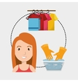 woman washing clothes hang gloves vector image