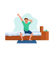 young man character wakes after sleep vector image vector image