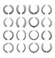 black laurel wreath icons set vector image