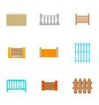 architecture fences icons set cartoon style vector image