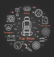 black linear banner of car seat vector image vector image