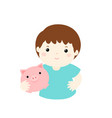 boy saving money hold piggy bank cartoon vector image vector image