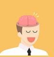 brain in businessman head vector image vector image