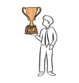 businessman holding big gold trophy vector image vector image