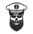 captain skull in hat with beard vector image vector image