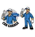 cartoon car mechanic worker mascot vector image vector image