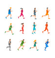 cartoon color jogging characters people set vector image vector image