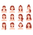 cartoon female fashion hairstyle for short long vector image