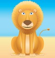 Cartoon lion sitting on blue background vector image vector image