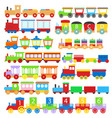 cartoon train toy children signs icon set vector image