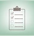 checklist sign brown flax vector image vector image