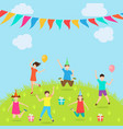children have fun party amusement park active vector image