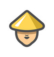 chinese girl in a hat icon cartoon vector image vector image