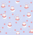 cute owl in the sky seamless pattern vector image