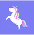 cute unicorn with rainbow mane and sharp horn vector image