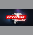 cyber monday sale banner hud style futuristic vector image vector image
