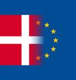 denmark national flag with a star circle of eu vector image