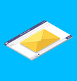 email isometric window send mail in browser vector image vector image