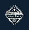 emblem champions baseball team vector image vector image