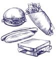 fast food set hand drawn llustration vector image vector image