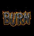 fiery burn vintage lettering vector image vector image