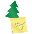 Fir tree with paper sticker vector image vector image