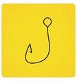 Fishing hook icon Fisherman equipment sign vector image vector image