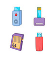 flash disk icon set cartoon style vector image