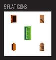 flat icon door set of frame entrance wooden vector image vector image
