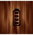 Full battery icon Accumulator Wooden texture vector image vector image