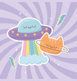 funny fantasy cat with ufo kawaii characters vector image vector image