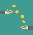 giving taking hands with falling down golden coin vector image vector image