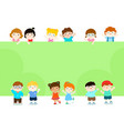 happy children holding blank poster template for vector image vector image