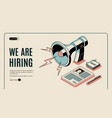 hiring agency isometric website template vector image