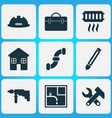 industry icons set with pipeline heating case vector image