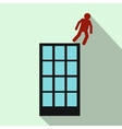 Man falling down of building icon flat style vector image