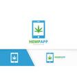 marijuana leaf and phone logo combination vector image vector image