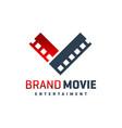 movie logo movie letter v vector image