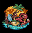 octopus bringing beer at a summer party under a vector image vector image