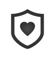 protection shield with heart flat vector image vector image